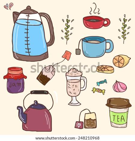 Hand drawn vector set of tea essentials - cups, teapot, tea and sweets - stock vector