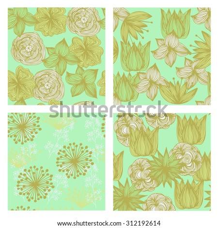Hand-drawn vector set of vintage floral patterns and seamless backgrounds. Ideal for printing onto fabric and paper or scrap booking.Wedding, marriage, bridal, birthday, Valentine's day.