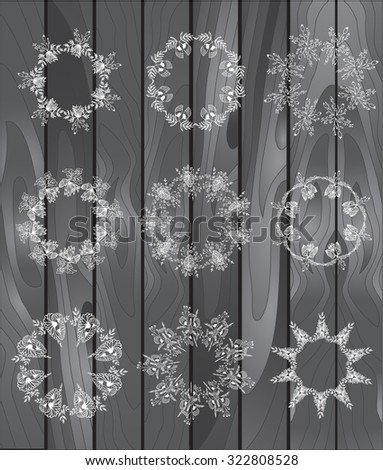 Hand-drawn vector set of vintage floral wreathes isolated on wood background. Wedding, marriage, bridal, birthday, Valentine's day - stock vector