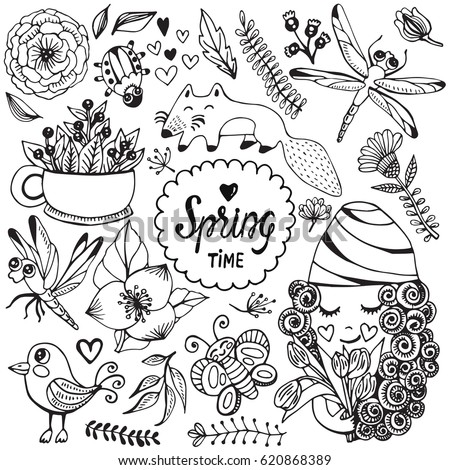 hand drawn vector set cute spring stock vector royalty free 620868389 shutterstock. Black Bedroom Furniture Sets. Home Design Ideas