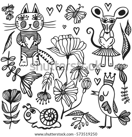 Coloring Pictures Of Animals And Flowers : Stock photos royalty free images & vectors shutterstock