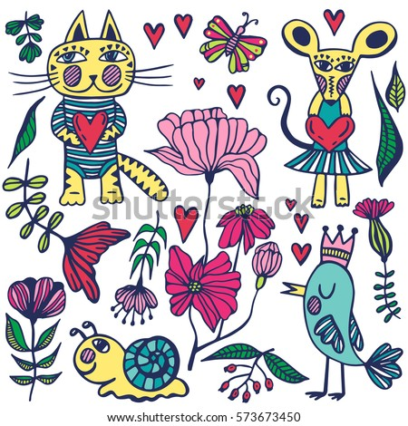Coloring Pictures Of Animals And Flowers : Cute snail coloring page stock fotos billeder til fri