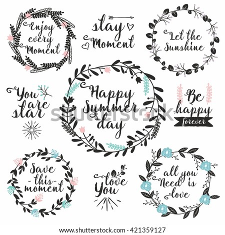 hand drawn vector set with round floral frames and typography perfect for wedding invitations