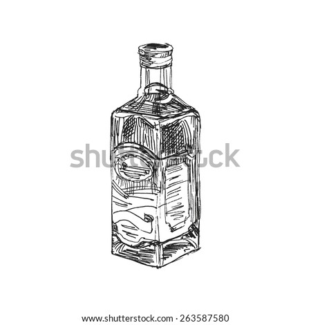 Hand drawn vector Sketch Bottle of Whiskey on a white background - stock vector
