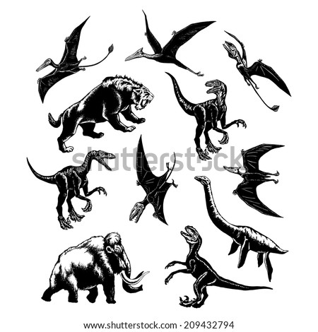 hand drawn, vector, sketch illustration of collection of prehistoric animals - stock vector