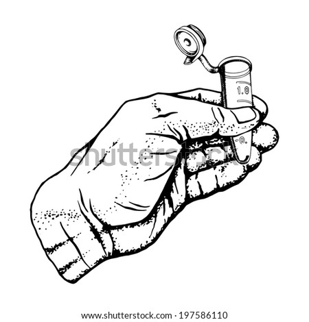 hand drawn, vector, sketch illustration of micro-tube in the hand - stock vector