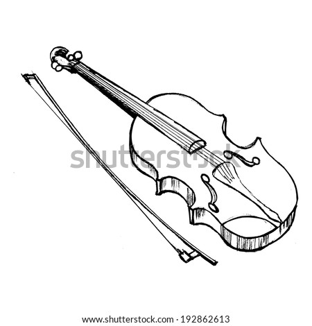hand drawn, vector, sketch illustration of violin
