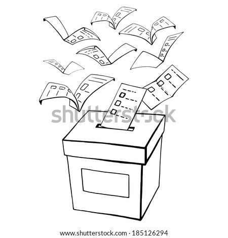hand drawn, vector, sketch, illustration of voting, vote - stock vector