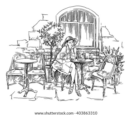 Hand drawn vector sketch of old town fragment. Street cafe illustration. Restaurant. Isolated on white background. Modern artistic line art graphic. - stock vector