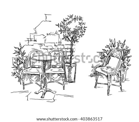 Hand drawn vector sketch of old town fragment. Street cafe illustration. Restaurant. Isolated on white background. Modern artistic line art graphic.