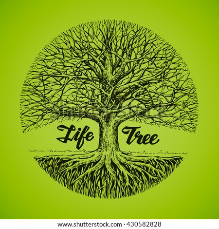 Hand drawn vector sketch tree with roots. Ecology, environment. Nature or ecosystem - stock vector