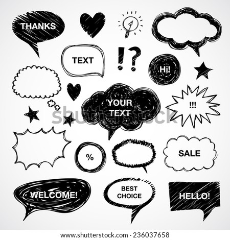 Hand drawn vector speech and thought bubbles, clouds, balloons - stock vector