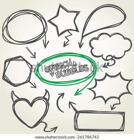Hand-drawn vector speech bubbles collection design, Illustration EPS 10.