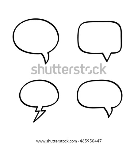 Hand-drawn vector speech bubbles. 4 elements set