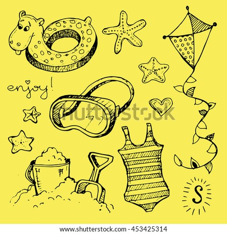 Hand drawn vector summer set. Doodle set. Vector illustration.