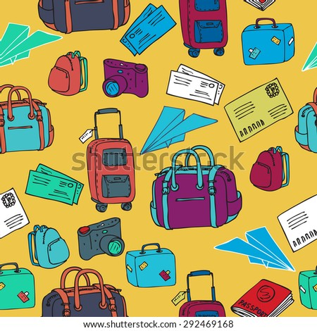hand drawn vector travel seamless pattern with paper plane and luggage