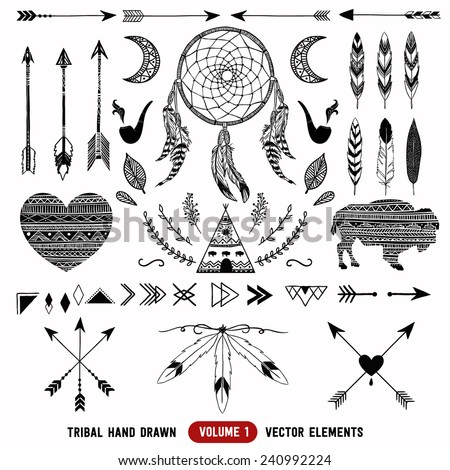 Hand drawn vector tribal elements. Aztec logos and badges.  - stock vector