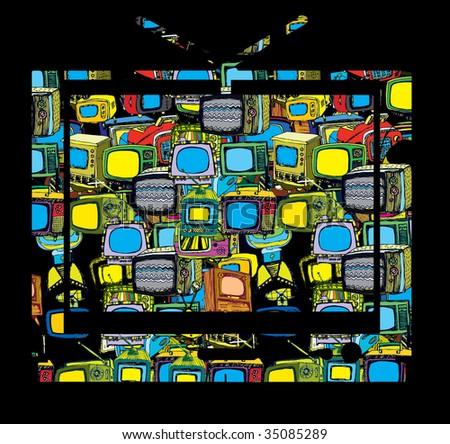Hand drawn vector TV - stock vector