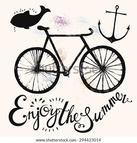 Hand drawn vector typography poster with bicycle. Summer symbols - stock vector