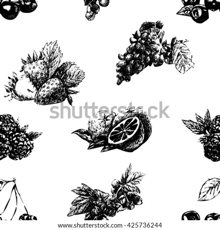Hand drawn vector vintage seamless pattern with set of berries and fruits isolated on white background.