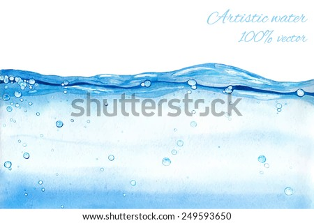 Hand drawn vector water splash. Watercolor artistic background.  - stock vector