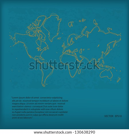 Hand Drawn Vector World Map on Green Grunge Paper,Eps10 - stock vector