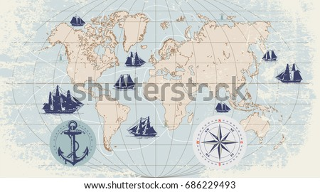 Hand drawn vector world map compass stock photo photo vector hand drawn vector world map with compass anchor and sailing ships in vintage style gumiabroncs Images