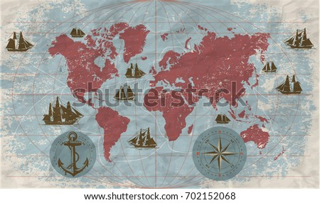 Hand drawn vector world map compass vectores en stock 688216144 hand drawn vector world map with compass anchor and sailing ships in vintage style gumiabroncs Gallery