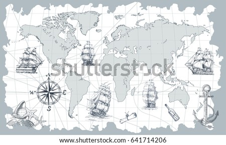Hand drawn vector world map compass stock vector 641714206 hand drawn vector world map with compass anchor and sailing ships in vintage style gumiabroncs
