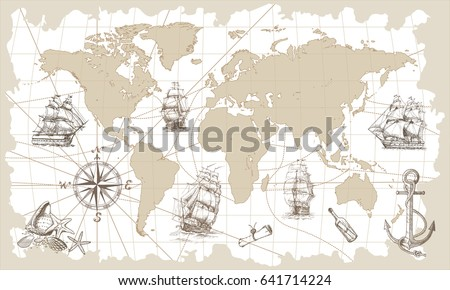 Hand drawn vector world map compass vectores en stock 641714206 hand drawn vector world map with compass anchor and sailing ships in vintage style gumiabroncs Gallery