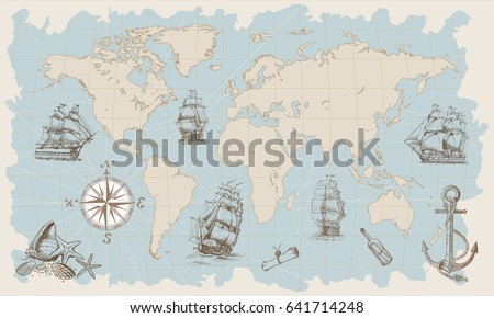 Hand drawn vector world map compass vectores en stock 641714206 hand drawn vector world map with compass anchor and sailing ships in vintage style gumiabroncs Images