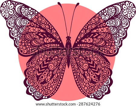 Hand Drawn Vector Zentangle Butterfly Illustration Stock
