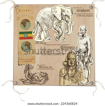 Hand drawn vectors from the series: Travels around the World - pictures of life in ETHIOPIA. On the topic: Nations and Tribes, Animals and Art. - stock vector