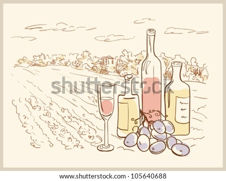 Hand drawn vineyard with bottles of wine. - stock vector