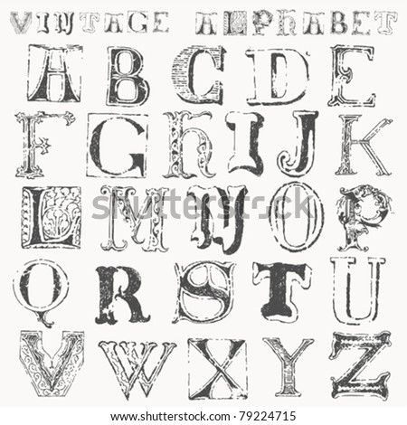 hand drawn vintage alphabet - stock vector