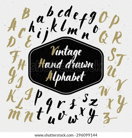 Hand drawn vintage alphabet. Vector Illustration. Retro typography set of letters. - stock vector