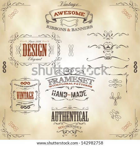 Hand Drawn Vintage Banners And Ribbons/ Illustration of a set of hand drawn frames, sketched banners, floral patterns, ribbons, and graphic design elements on vintage leather or old paper background - stock vector