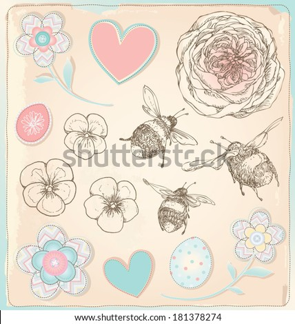 Hand Drawn Vintage Bees, Flowers and Hearts Vector Set - stock vector