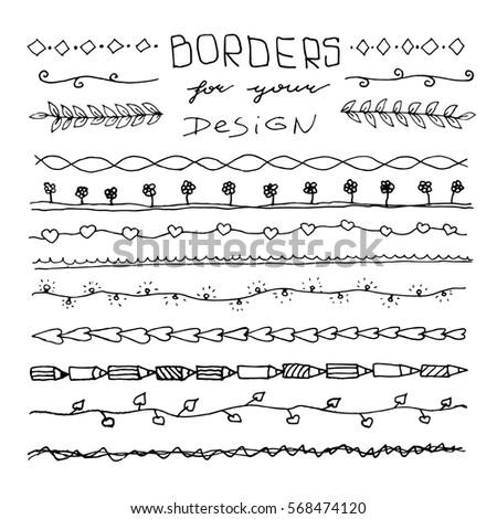 hand drawn vintage borders frames yourのベクター画像素材 568474120