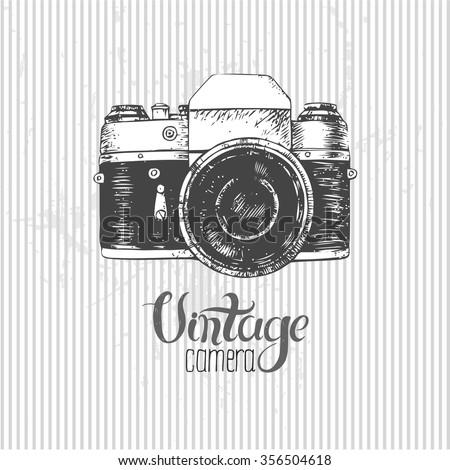Hand drawn vintage camera - stock vector