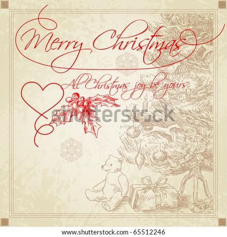 hand drawn vintage christmas greetings - stock vector