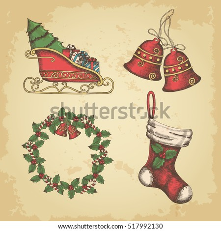 Hand drawn vintage Christmas set of bells, wreath of holly, Santa's sleigh and socks. Vector, sketch.