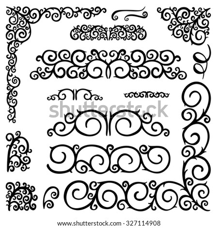 Hand drawn vintage decorative elements and ornaments,curls, swirls, wreath, branches. Vector set collection doodle elements for design.  - stock vector