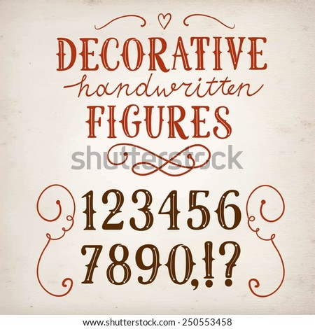 Hand drawn vintage decorative vector figures on paper background.Nice font for your design.  - stock vector