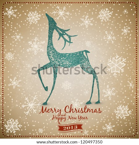 Hand Drawn Vintage Deer Christmas Card - stock vector