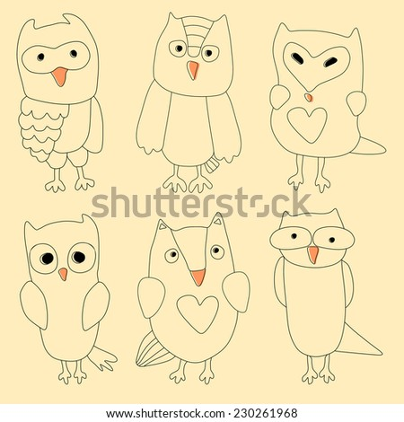 Hand drawn vintage doodle owl set.  - stock vector