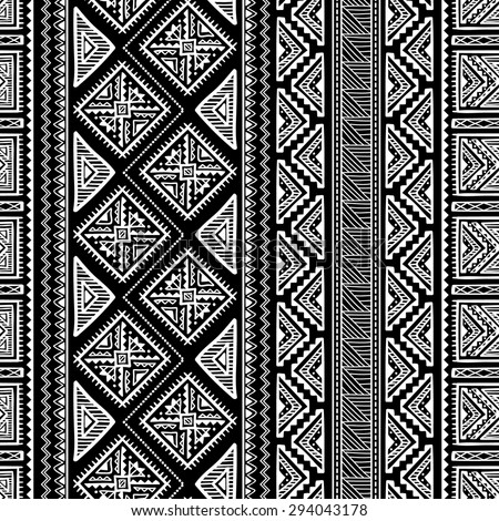 Hand Drawn Vintage Ethnic Ornament Seamless Pattern - stock vector