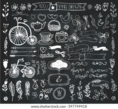 Hand Drawn vintage floral decorative elements, flowers, arrow, branches,horn,feathers,garden tool.Doodle rustic vector.Vintage design templates,invitations card,logo,cafe menu.Chalkboard - stock vector