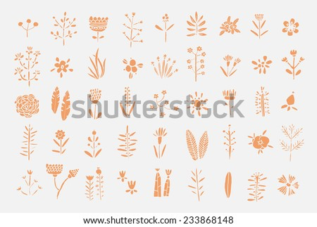 Hand Drawn vintage floral elements. Flowers, leaves, branches, berries. Isolated. - stock vector