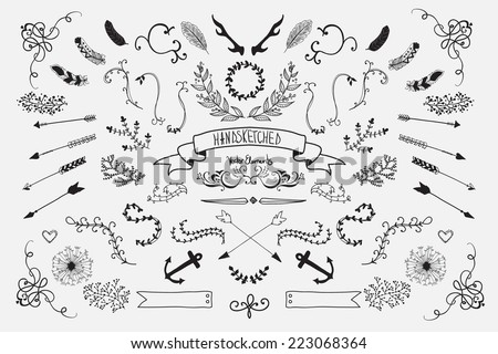 Hand Drawn vintage floral elements. Set of flowers, arrows and decorative elements.  - stock vector